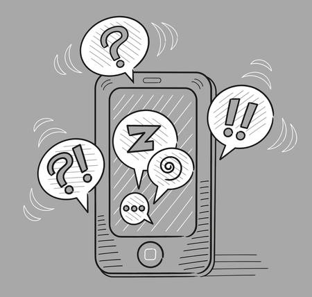prose: Grey phone with many conversations going on at once