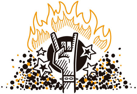 ballad: Strong showing rock hand symbol in fire