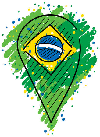 Point representing Brazil in the middle of colors