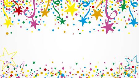 Achtergrond van een partij met veel confetti, slingers en sterren op dag