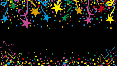 night: Background of a party with many confetti, streamers and stars at night