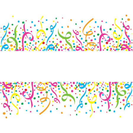 White background with colorful confetti and streamers many