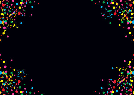 jubilation: Black background of colorful confetti and stars