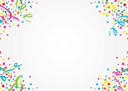 Weißen Hintergrund mit bunten Konfetti und Luftschlangen