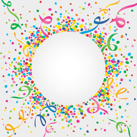 White background of carnival confetti and streamers