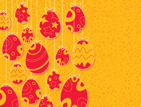 decorum: Easter eggs hanging with orange background