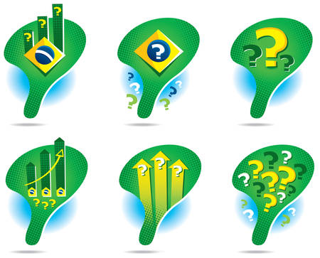 setback: Icons of the map of Brazil symbolizing doubts about the future of the country Illustration