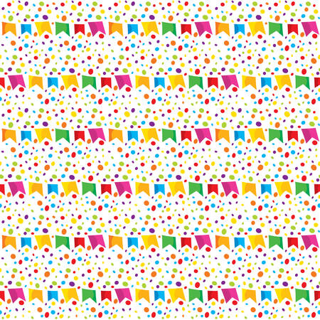 festivities: Background of June Festival with colorful banderoles and colorful dots Illustration