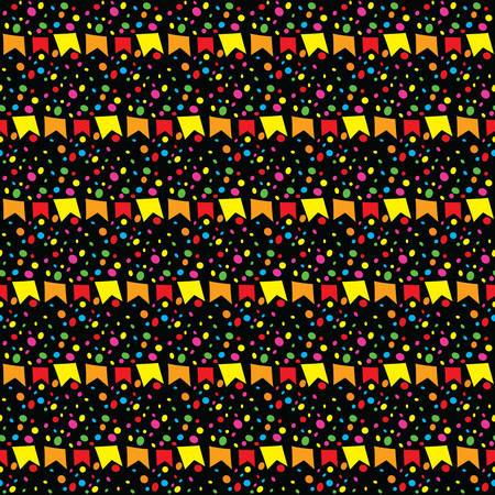 banderole: Background of June Festival with colorful banderoles and colorful dots Illustration