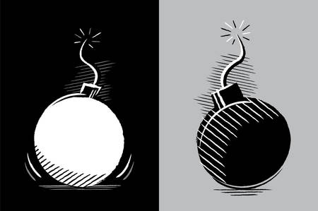 bombs: Simple drawing of two bombs in chiaroscuro without color