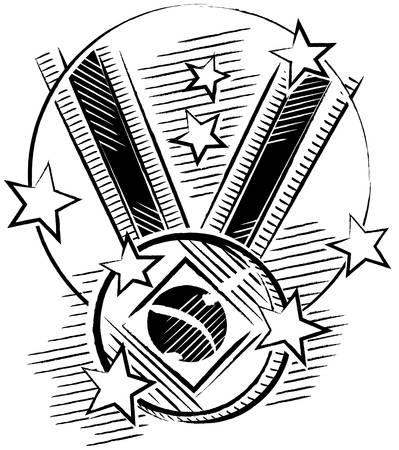 Black and white drawing of a medal in sketch format with stars around