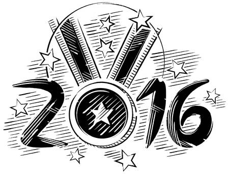 triumphant: Black and white drawing of a medal in sketch format with stars around and the medal being the zero 2016