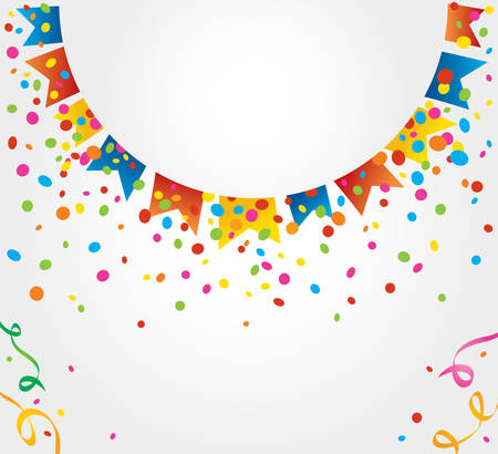 revelry: White background with many colorful flags and confetti around the circular area