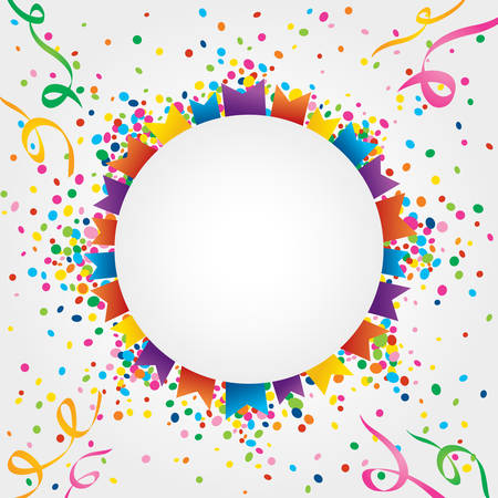 jubilation: White background with many colorful flags and confetti around the circular area