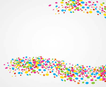 revelry: White background with ornaments of colored dots creating waves