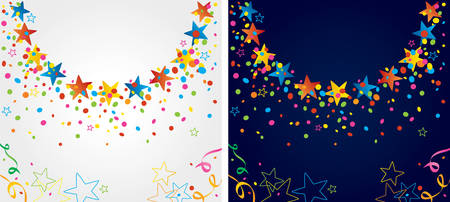 jubilation: background with many colorful stars and confetti around the circular area
