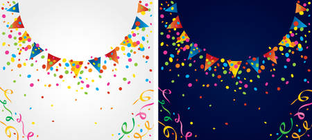jubilation: background with many colorful flags and confetti around the circular area
