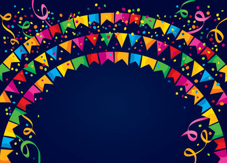 jubilation: Dark background with many colorful flags and confetti on top Illustration
