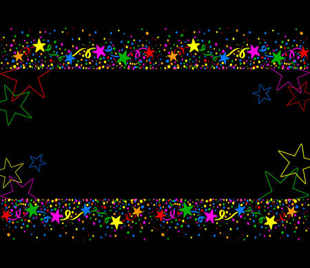 jubilation: Dark background with colored stars and confetti up and down with space for text in the middle Illustration