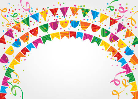 revelry: White background with many colorful flags and confetti on top Illustration