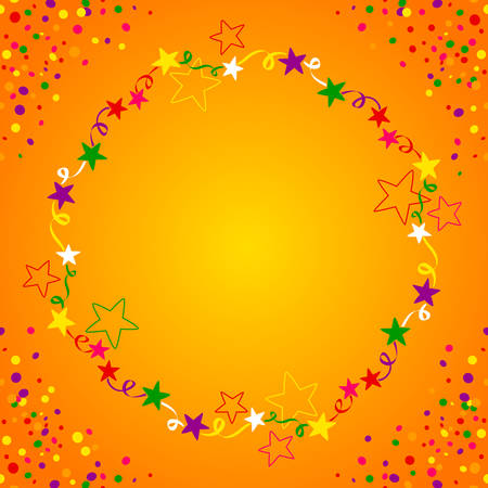jubilation: Colorful star circle with space in the middle for text. Background for parties in general Illustration