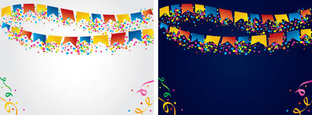 revelry: Colored flags hanging on colored dots on the top of the image to be used as background for June Festival and parties in general.