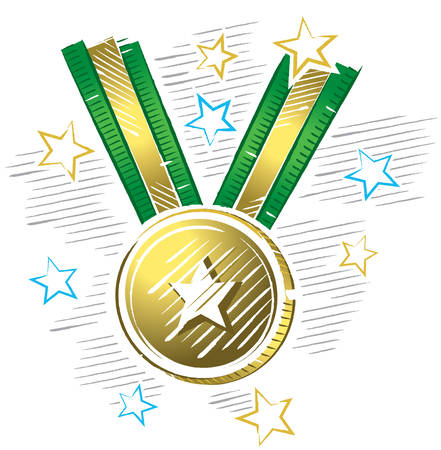 Colorful drawing of gold medal in sketch format with stars around Illustration