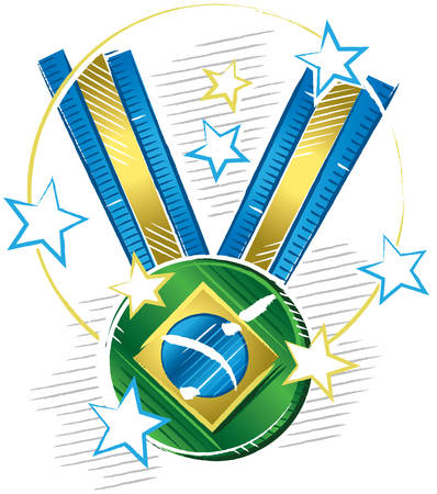 Colorful drawing of a medal with the symbol of Brazil flag in sketch format with stars around