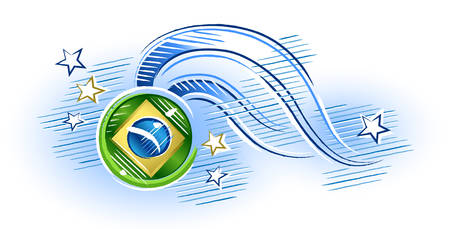 law of brazil: Medal with Brazil flag with stars around Illustration