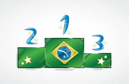 law of brazil: Podium with Brazil flag showing the numbers first, second and third with stars around