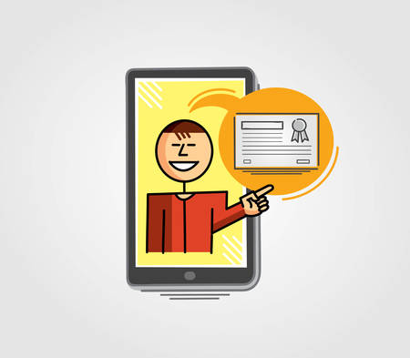 telephone interview: Virtual teacher in the cell phone screen pointing to a certificate