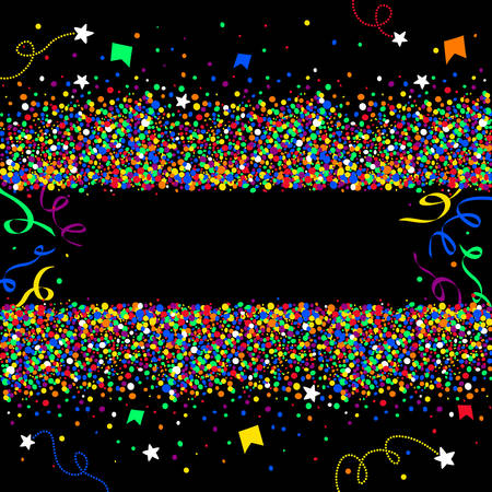 banderole: Black background made of colorful dots, confetti, stars and streamers with space to place text in the middle