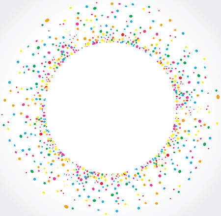 Light background in circular format with colorful dots texture around the space for text. To use on birthday cards and general parties