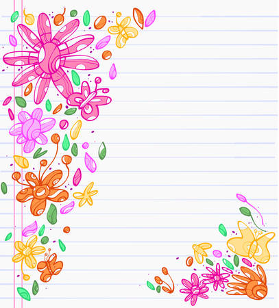 Sheet of notebook with drafts of colorful drawings of leaves, flowers and butterfly Иллюстрация