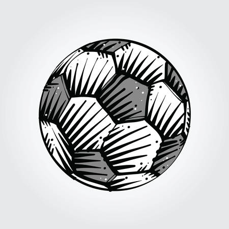 Soccer ball sketch in black and gray