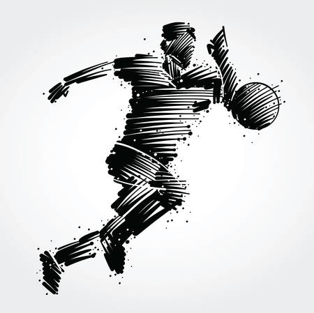 Soccer player running behind the ball made of black brushstrokes