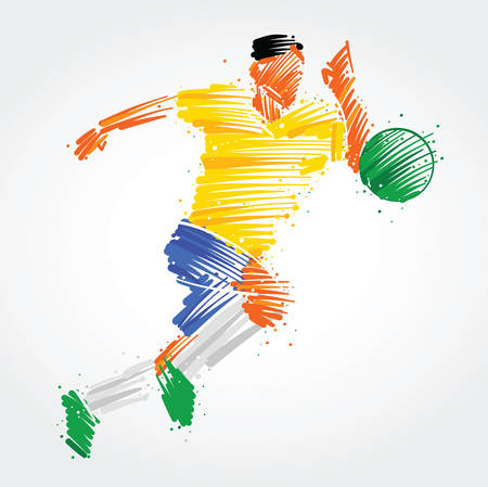 Soccer player ready to kick the ball made of colorful brushstrokes Ilustração