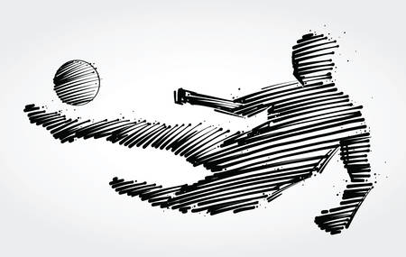 Soccer player jumping to kick the ball made of black brushstrokes. Ilustração