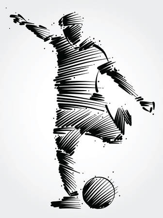 Soccer player running to kick the ball made of black brushstrokes on light background