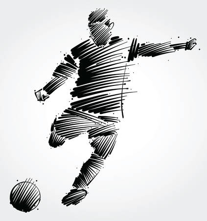 Soccer player kicking the ball made of black brushstrokes on light background Vectores