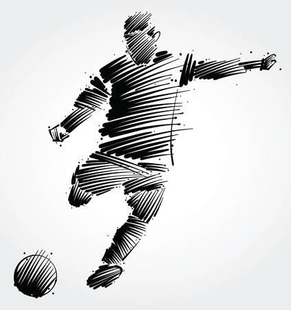 Piłkarz kopiąc piłkę z czarnych pociągnięć pędzla na jasnym tle