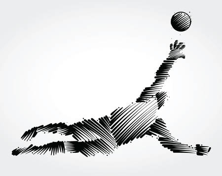 Goalkeeper jumping to catch the ball made of black brushstrokes on light background
