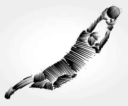 Goalkeeper flying to the ball made of black brushstrokes on light background
