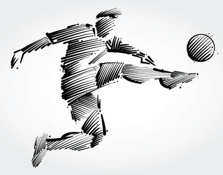 Soccer player flying to kick the ball made of black brushstrokes on light background 일러스트