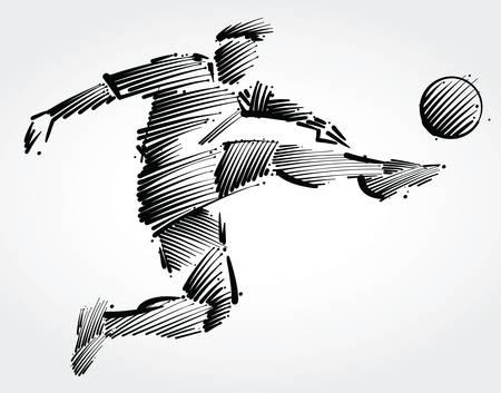 Soccer player flying to kick the ball made of black brushstrokes on light background Illustration