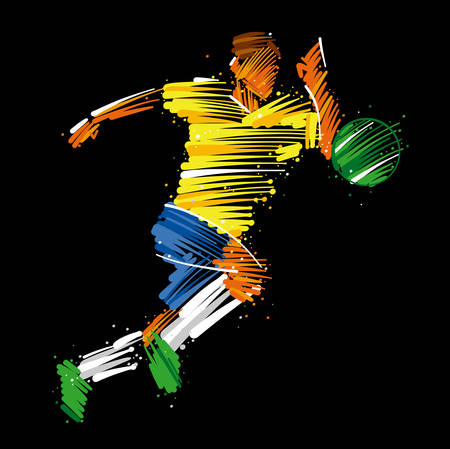 Soccer player running behind the ball made of colorful brushstrokes on dark background