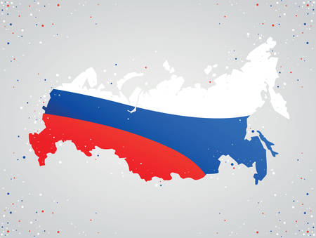 Flag colors of russia inside map on gray background with colorful dots around Ilustração