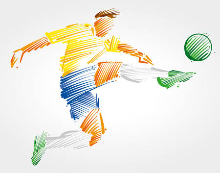 Soccer player flying to kick the ball made of colorful brushstrokes on light background Vettoriali