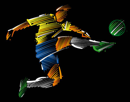 Soccer player flying to kick the ball made of colorful brushstrokes on dark background.