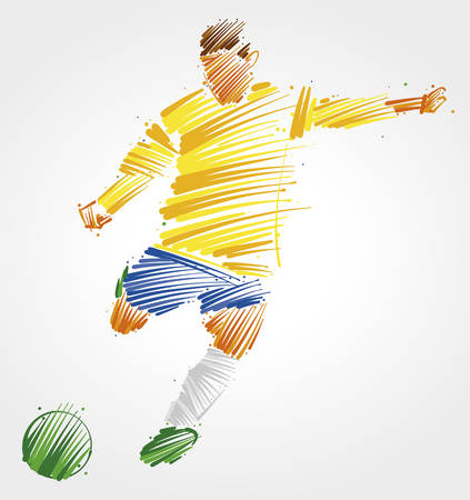 Soccer player kicking the ball made of colorful brushstrokes on light background Ilustração
